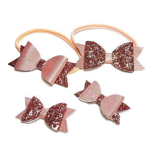 Pink Christmas hair clips and headband