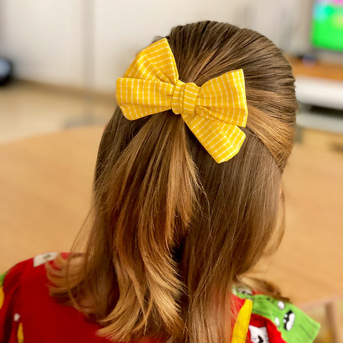 Hand tied cotton bow hair clips and headband
