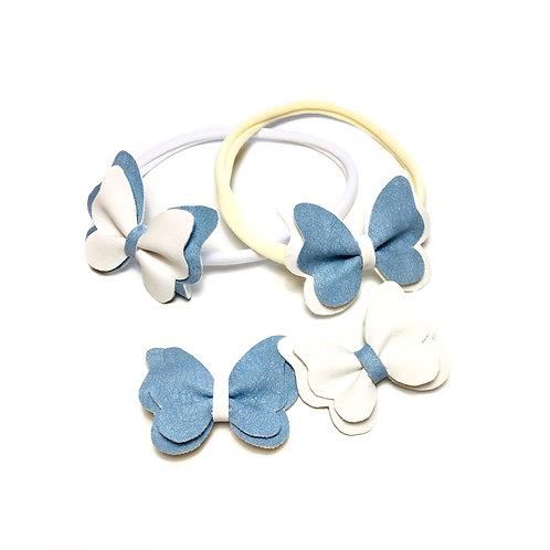 Leptirići plavo-bele šnalice i trakice za kosu