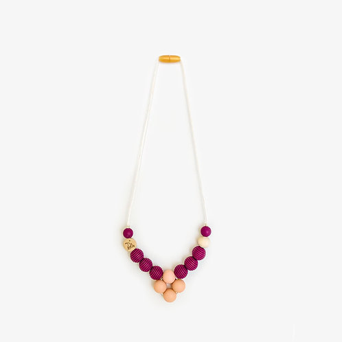 Silicone teether necklace rhombus maroon color