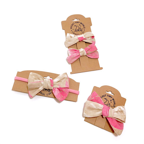Hand tied linen bow hair clips and headband