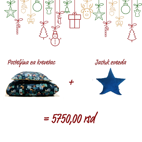 Posteljina za krevetac (plava) i Jastuk zvezda