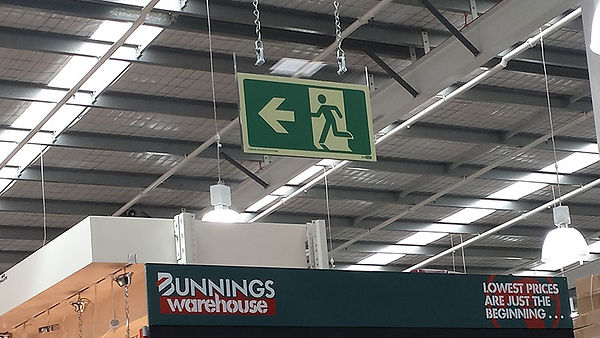 hanging exit sign