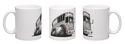 Bus Caricature Coffee Cup