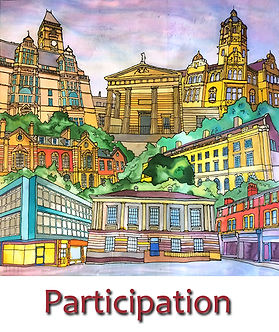 Silk Painting representing the buildings on Wood Street in Wakefield created by Faceless Arts and painted by the people of Wakefield