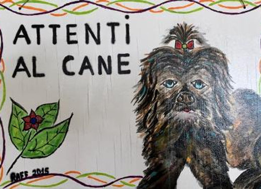 Hand Painted Attenti al Cane