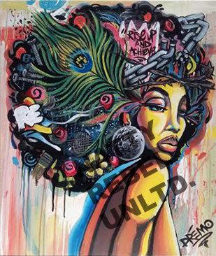 Afro Girl Print mounted on Wood
