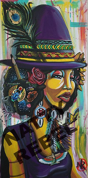 Afro Girl Fedora Print