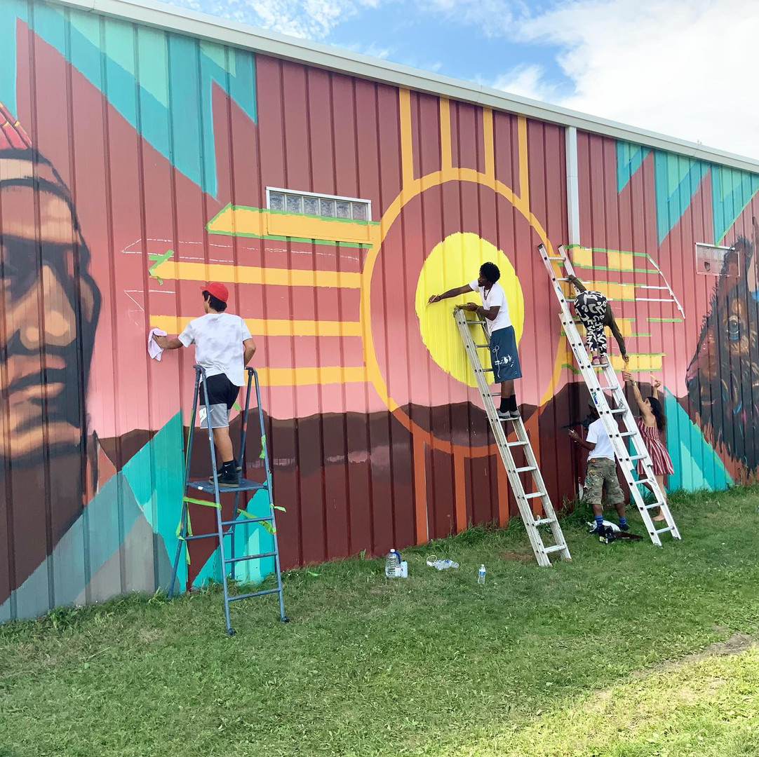 Sioux community youth paint with BAMP