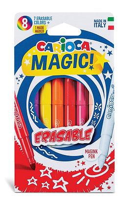 Carioca Silinebilen Sihirli Keçeli Boya Kalemi (7 Renk+1 Düzeltici Beyaz Kalem)