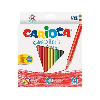 Carioca Ahşap Üçgen Kuru Boya Kalemi 24'Lü