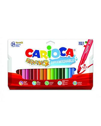 Carioca Bravo Süper Yıkanabilir Keçeli Boya Kalemi 24'Lü