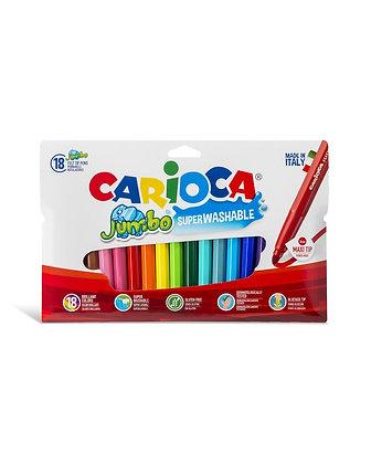 Carioca Jumbo Süper Yıkanabilir Keçeli Boya Kalemi 18'Li