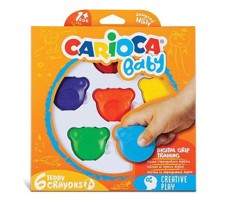 Carioca Baby Teddy Crayons 6'lı +1 Yaş