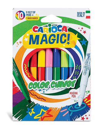 Carioca Renk Değiştiren Sihirli Keçeli Boya Kalemi (9 Renk+1 Renk Değiştirici)