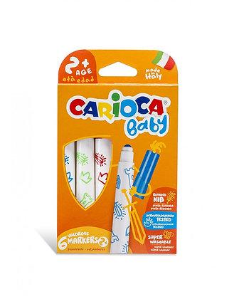 Carioca Jumbo Bebek Süper Yıkanabilir Keçeli Boya Kalemi 6'lı + 2 Yaş