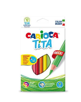 Carioca Tita Altıgen Jumbo Kuru Boya Kalemi 12'Li