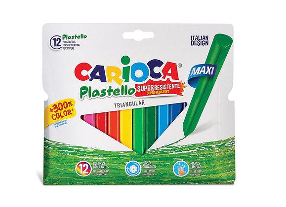 Carioca Jumbo Üçgen Elleri Kirletmeyen Yıkanabilir Pastel Boya Kalemi 12'Li