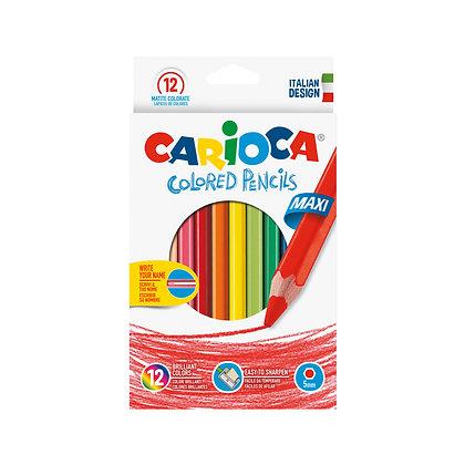 Carioca Ahşap Altıgen Jumbo Kuru Boya Kalemi 12'Li