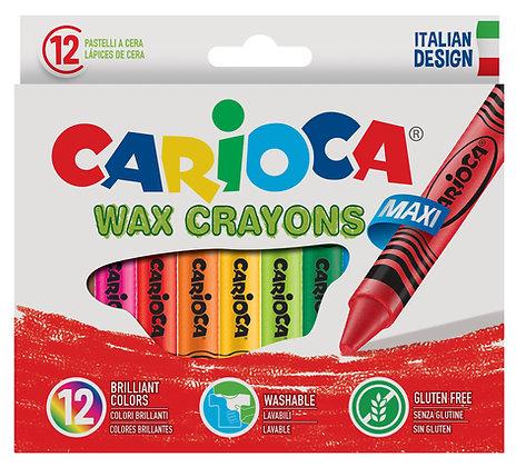 Carioca Wax Maxı Yıkanabilir Pastel Boya Kalemi 12'Li