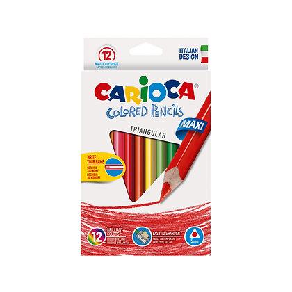 Carioca Ahşap Jumbo Üçgen Kuru Boya Kalemi 12'Li