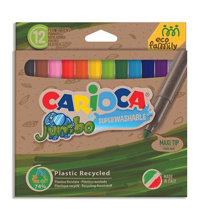 Carioca Eco Family Jumbo Süper Yıkanabilir Keçeli Boya Kalemi  12'li