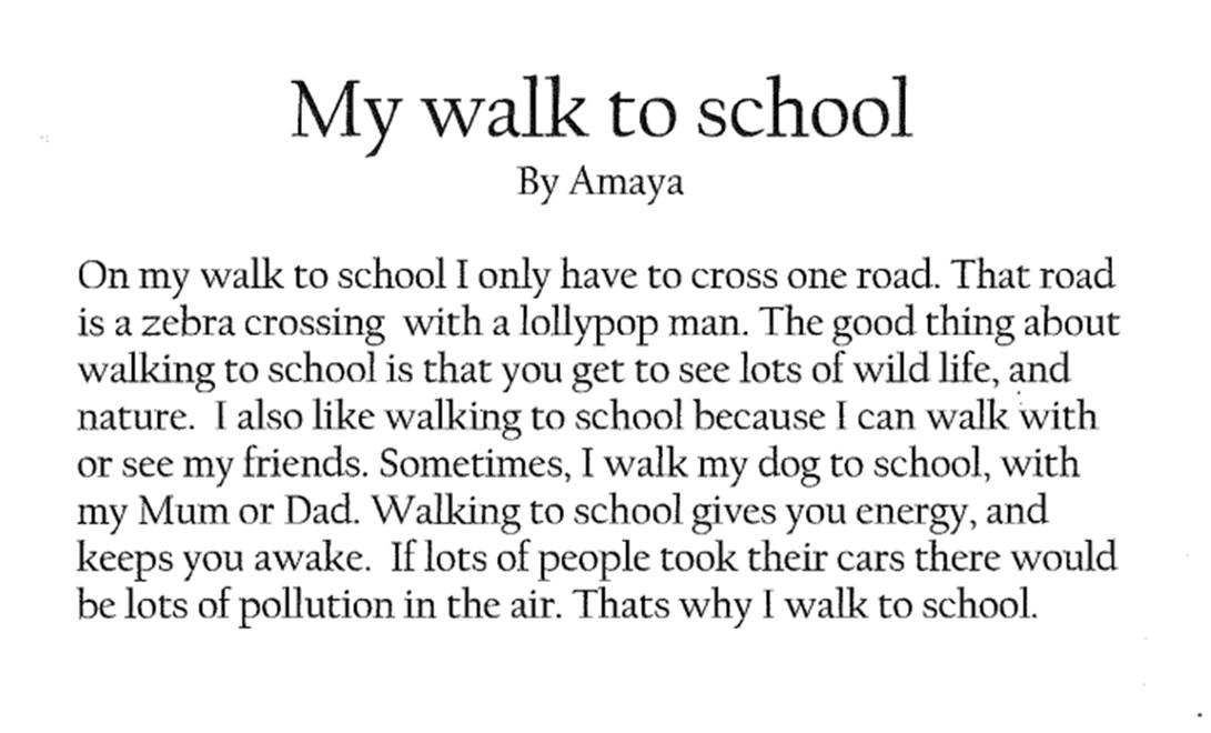 walk to sch writing
