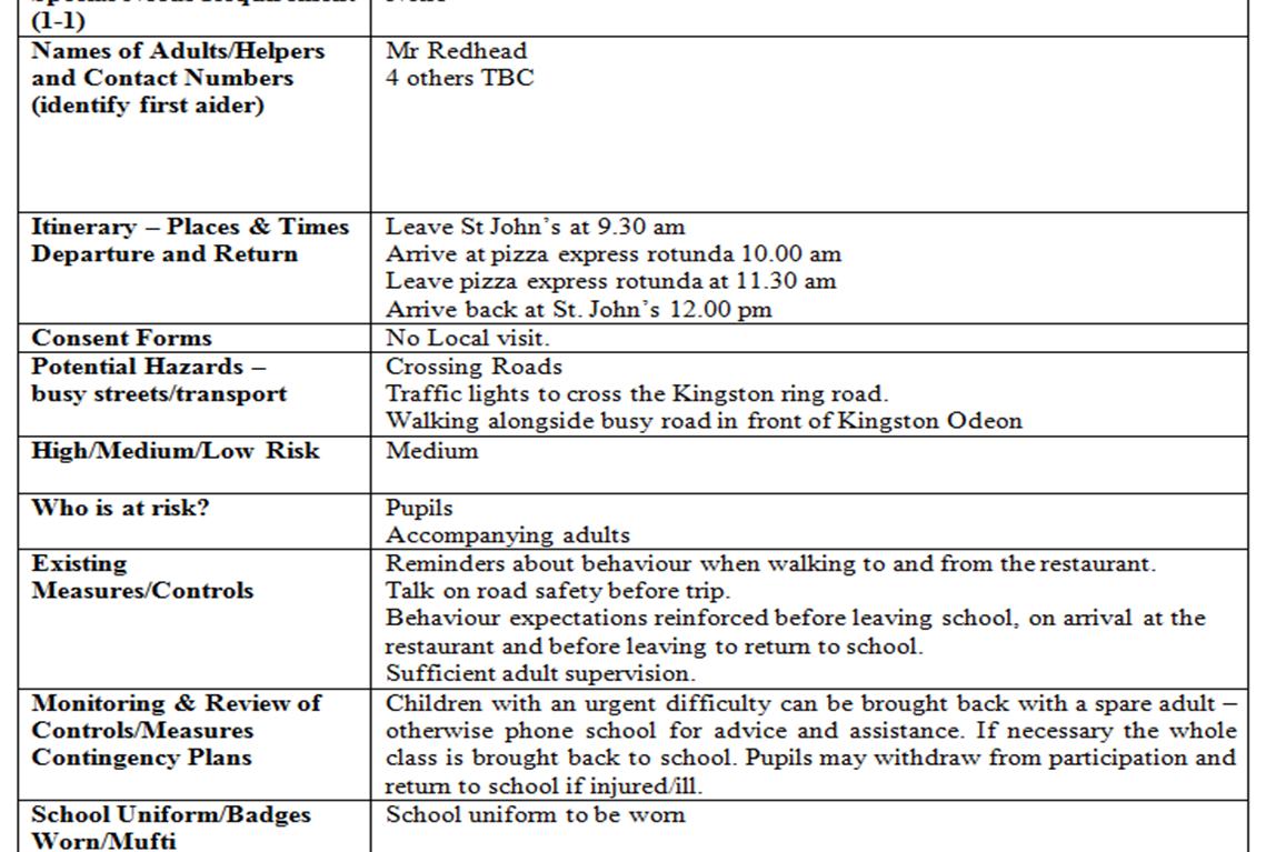 school trip assessment