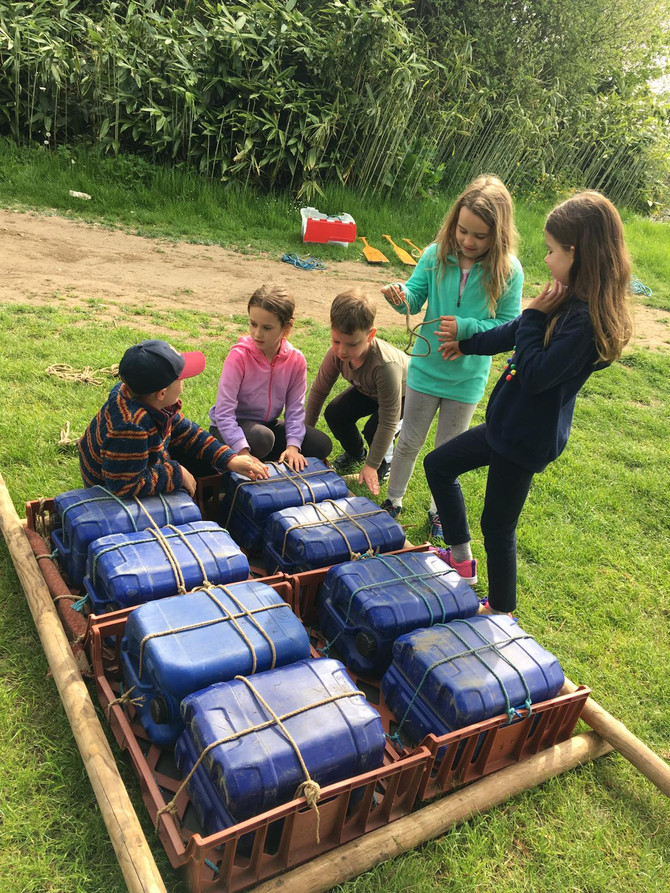 Raft building Thursday-who will get wet first?
