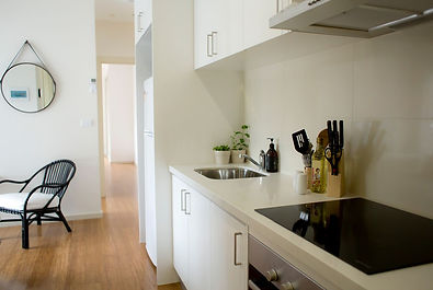 Kitchen and Lounge Apartment Accommodation Melboure CBD