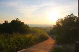 通往夕陽餘暉的道路