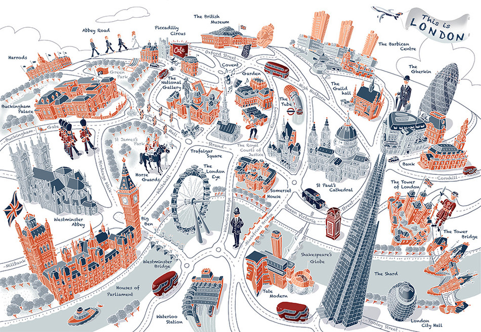 """""""This is London"""" map, graphic line style"""