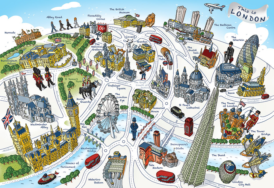 """""""This is London"""" map, vintage style"""