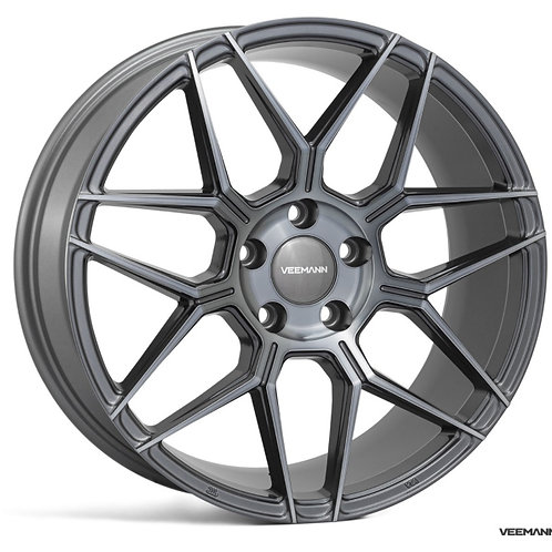 17x7.5 Veemann Wheels VFS-38F Black Polish Black Clear
