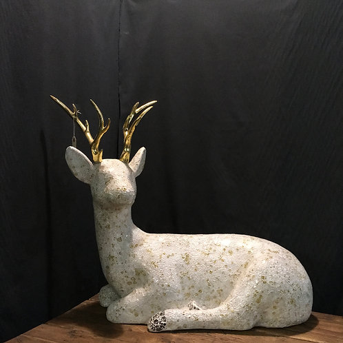 Mosaic Deer with gold antlers