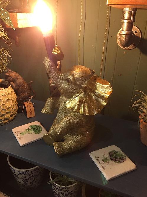 Elephant lamp gold
