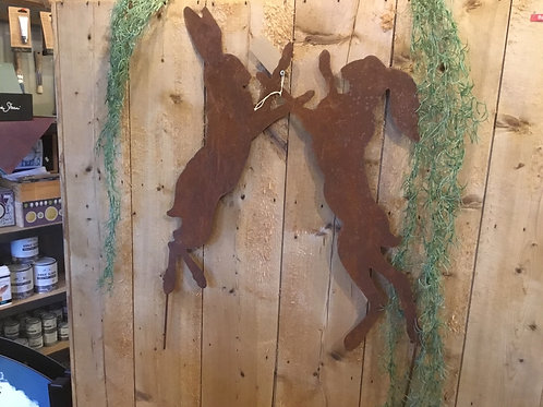 Boxing hares for flower bed