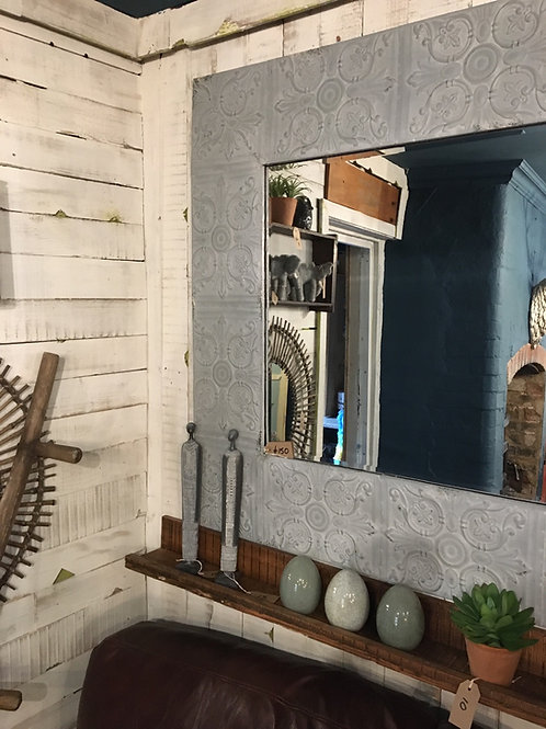 Large tin tile mirror