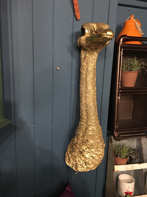 Gold ostrich head