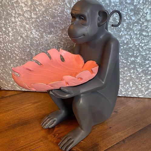 Monkey with pink leaf