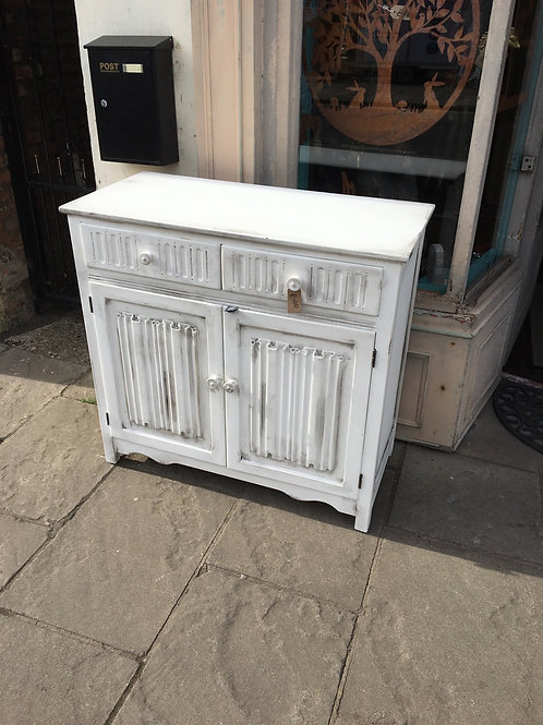 Oak sideboard painted in Annie Sloan old white with black wax
