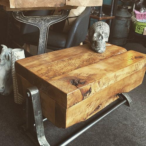 Walnut industrial coffee table