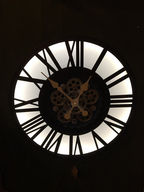 Clock (light up and moving gears )