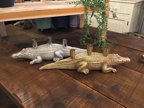 Crocodile candle holders (gold or silver) 17in