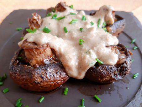 Cogumelos Portobello ao Molho de Alho e Castanha de Caju