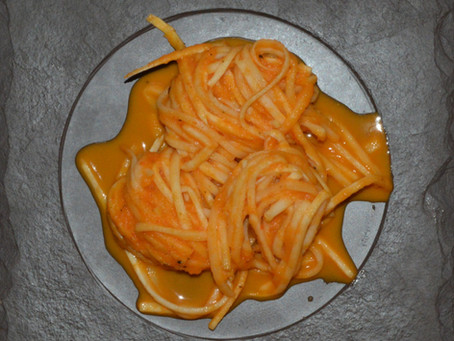 Espaguete de Pupunha ao Molho de Legumes Assados