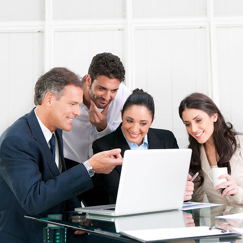 Happy working business team in modern of