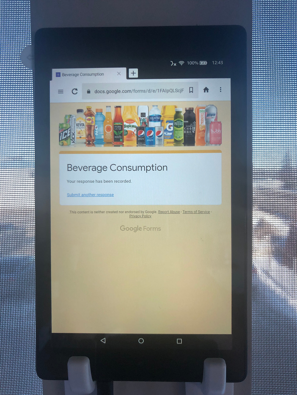 Amazon tablet with beverage consumption questionnaire created by Google Forms