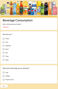 Onware's Beverage Consumption Questionnaire created by Google Forms