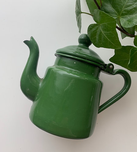 Small Green Enamel Teapot